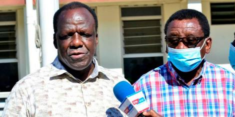 Kakamega Governor Wycliffe Oparanya (left) and Siaya Senator James Orengo.