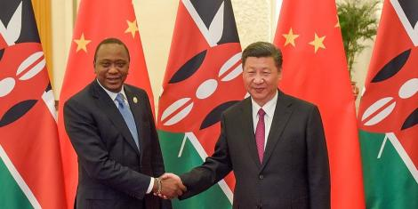 Kenyan President Uhuru Kenyatta (Left) and Chinese President Xi Jinping prior to a bilateral meeting in Beijing, China in 2018.