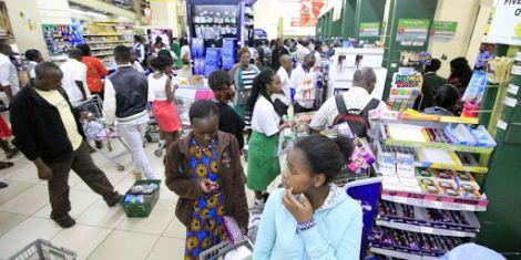 An image of Kenyans shopping