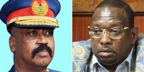 A photo of Nairobi Metropolitan Services boss Major General Mohamed Badi (left) and Governor Mike Sonko.
