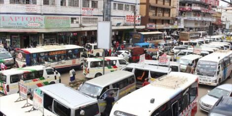 Matatus parked along Accra road.