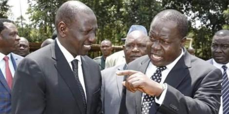 Interior CS Fred Matiang'i with Deputy President William Ruto at a past function