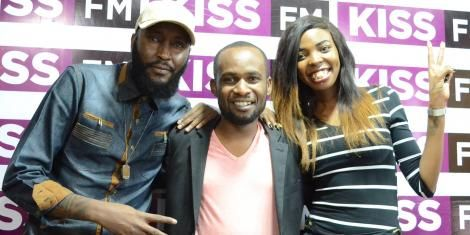 Rapper Collins Majale (Centre) during a past interview with media personalities Shaffie Weru and Adelle Onyango