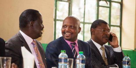 Gatundu South MP Moses Kuria (2nd from left) pictured during a past meeting with ODM leader Raila Odinga