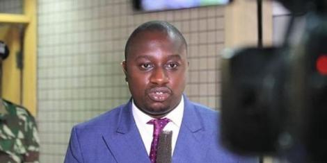 NTV Senior Reporter Ken Murithi during a live broadcast in May 2020.