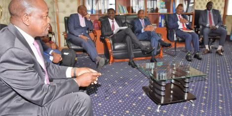 Health Cabinet Secretary Mutahi Kagwe when he held a consultative meeting on Covid-19 response with officials from the ministry, the Kenya Healthcare Federation and CEOs from the Kenya Association of Private Hospitals at Afya House on Thursday, March 26, 2020.