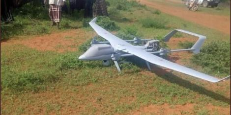 Mysterious drone that crash-landed in Wajir on Sunday, November 29, 2020.