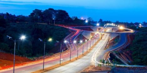 A road in Nairobi at night