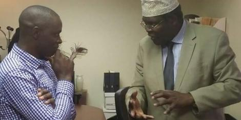 Samuel Okemwa (left) pictured during a past interview with firebrand lawyer Miguna Miguna