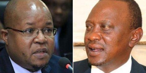 President Uhuru Kenyatta (right) and ousted EPRA boss Pavel Oimeke.