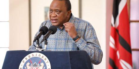 President Uhuru Kenyatta addressing the nation from State House Nairobi on April 25, 2020.