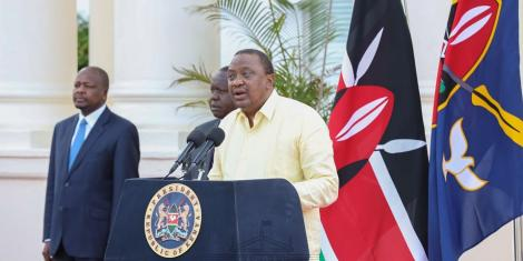 President Uhuru Kenyatta addressing the nation from State House Nairobi on April 6, 2020.