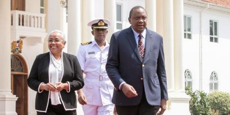 President Uhuru Kenyatta and First Lady Margaret Kenyatta at State House for the 91st Annual St John Inspection Parade at State House in 2019