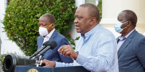 President Uhuru Kenyatta speaking at State House on May 23, 2020
