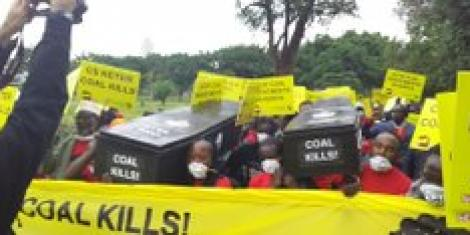 Protesters against the coal energy project in Lamu during a demonstration in Nairobi on June 12, 2019.