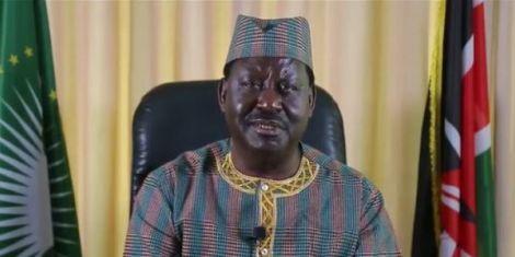 Orange Democratic Movement leader Raila Odinga addresses the nation on June 1, 2020.