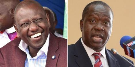 A collage of Deputy President William Ruto and Interior Cabinet Secretary Fred Matiang'i