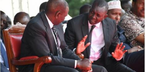 File image of Kapseret MP Oscar Sudi speaking to Deputy President William Ruto
