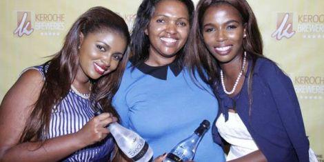 Keroche Breweries CEO Tabitha Karanja and her two daughters Annerlisa Mungai (L) and Tecra Karanja (R)