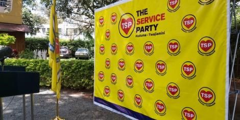 The Service Party logo displayed during the party's launch in Nairobi on June 24, 2020