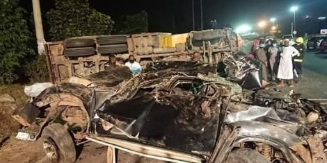 The wreckage of a car that was involved in a road accident along Mombasa Road on May 23, 2020.