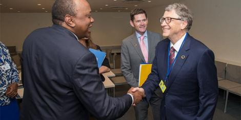 File image of President Uhuru Kenyatta with Microsoft founder Bill Gates at a past forum