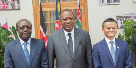 From left: Dr Mukhisa Kituyi, Secretary-General of the United Nations Conference on Trade and Development, President Uhuru Kenyatta and Chinese Billionaire Jack Ma at State House in July 2017