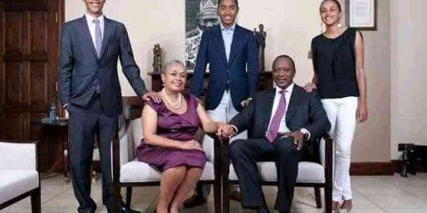 President Uhuru Kenyatta (seated right) with wife Margaret Kenyatta and their children.