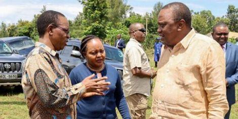 President Uhuru Kenyatta with Governor Anne Waiguru and Interior PS Karanja Kibicho during a development tour of Kirinyaga County in February 2020
