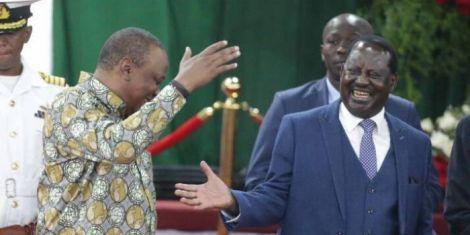 President Uhuru Kenyatta (left) greets Orange Democratic Movement leader Raila Odinga (right) during the BBI launch at Bomas of Kenya on Wednesday, November 27, 2019