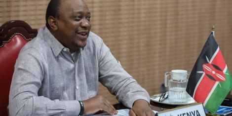 President Uhuru Kenyatta during a virtual meeting of the African Union (AU) Bureau on July 21, 2020