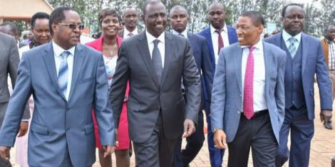 Embu Governor Martin Wambora (left) Deputy President William Ruto (centre) with Professor Paul Musili at the University of Embu on October 25, 2018.