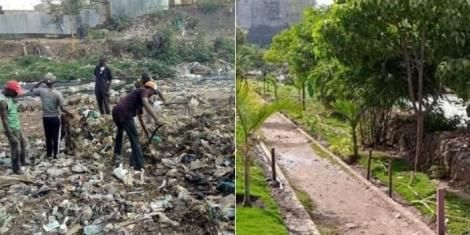 Youth working to clear dumpsite at Korogocho slums (Left) and the recreational park created after the rehabilitation of the section of the river (right).