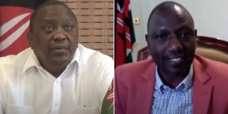 A collage of President Uhuru Kenyatta and Deputy President William Ruto in a zoom conference with the Council of Governors on Monday, August 31, 2020.
