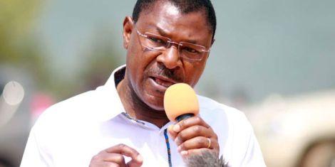 Bungoma Senator Moses Wetangula addresses a gathering in Busia in 2018