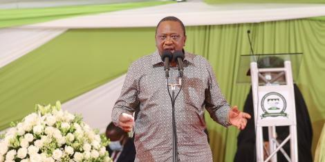 President Uhuru Kenyatta speaking during the burial of ANC leader Musalia Mudavadi's mother, Mama Hannah Atsianzale on Saturday, January 9