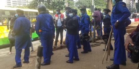 Police deployed in Nairobi during protests on Saturday, May 2
