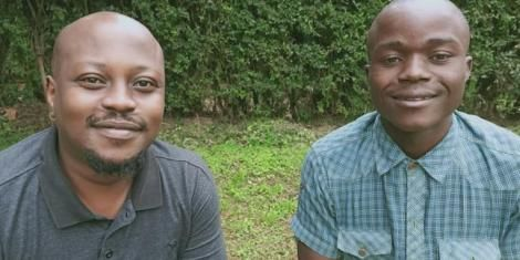 Internet star Alvan Gatitu (right) with Wafula Kizito (left).