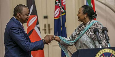 President Uhuru Kenyatta (left) and Sports CS Amina Mohamed in 2017.