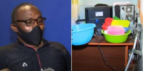 George Mwangi was forced to live inside a tiny office in his school after being kicked out over rent arrears