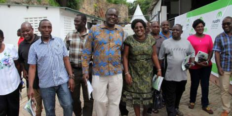 Kenya Secondary Schools Heads Association Chairman Indimuli Kahi (centre) and other headteachers leave Wild Waters resort on June 18, 2017
