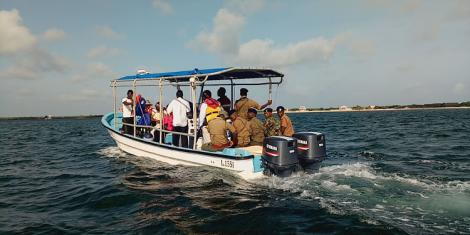 A search and rescue team in the Indian Ocean in 2019