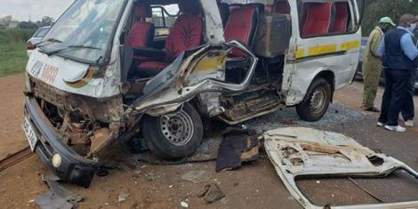 A matatu involved in an accident on Wednesday, May 27 at the Thika flyover near the Ngoingwa-Murram road junction.