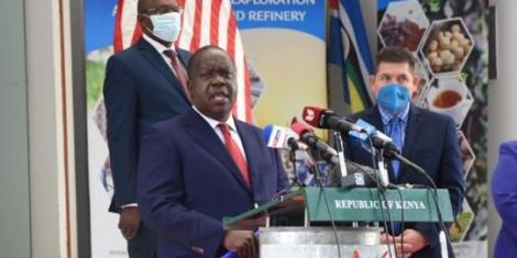 CS Fred Matiang'i speaking at the launch of the negotiations of a Free Trade Agreement between Kenya and the United States of America on July 8, 2020.