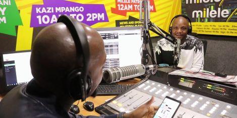 Jalang'o and Alex Mwakideu in Milele FM studios during a show.