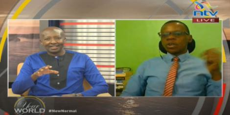 NTV anchor Joseph Warungu (left) and panellist Eric Amunga (right) during the NTV Your World show on Friday, May 15.