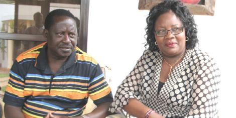 ODM leader Raila Odinga (left) with wife Ida Odinga (right).