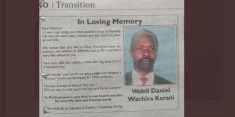 An orbituary for the late lawyer Daniel Wachira Karani