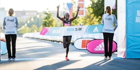 Peres Jepchirchir celebrates after setting a new world record in Prague, the Czech Republic on Saturday, September 5, 2020
