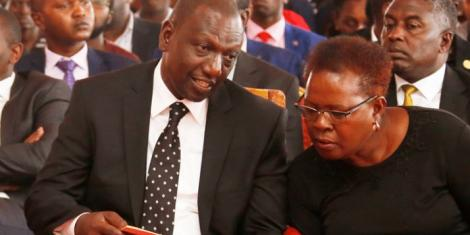 Deputy President William Ruto with Kandara MP Alice Wahome in Kandara, Murang'a county on February 13, 2020.